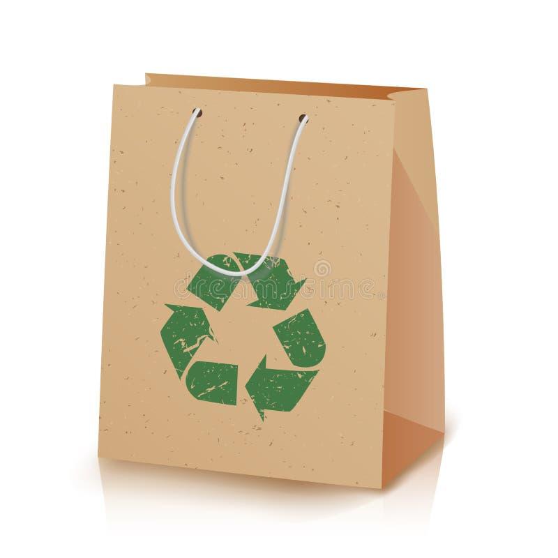 回收纸袋 被回收的布朗购物的纸袋的例证与不导致害处对的把柄的 向量例证