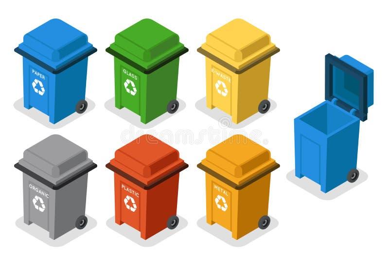 回收被隔绝的3d平的设计象集合传染媒介例证的等量垃圾箱垃圾分离 向量例证