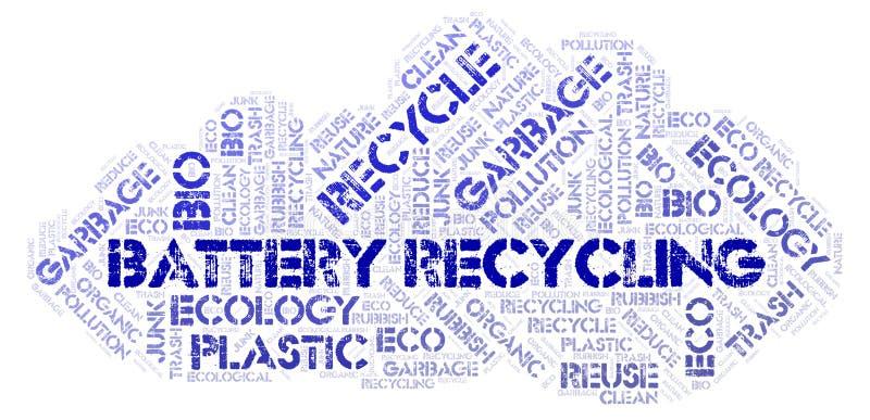 回收词云彩的电池 库存图片