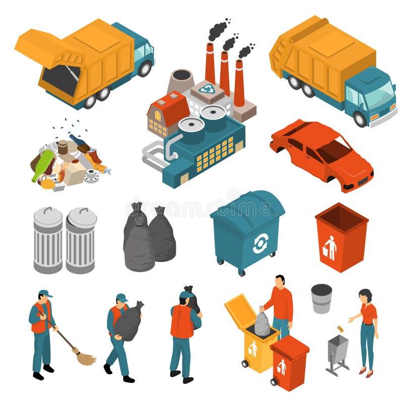 回收象集合的等量垃圾 向量例证