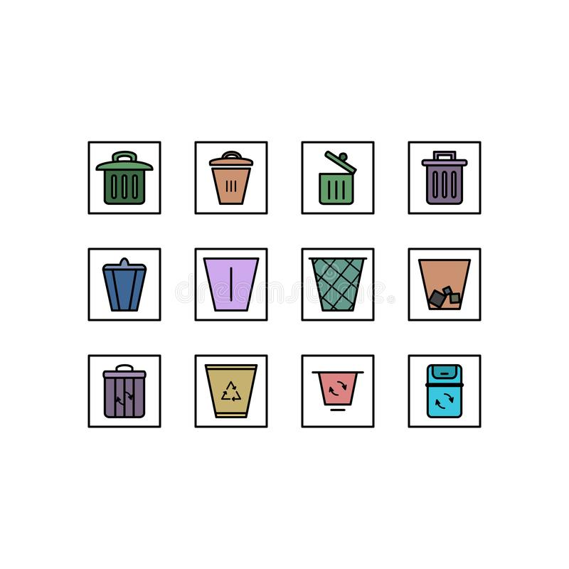 回收象集合 r 垃圾桶集合 库存例证