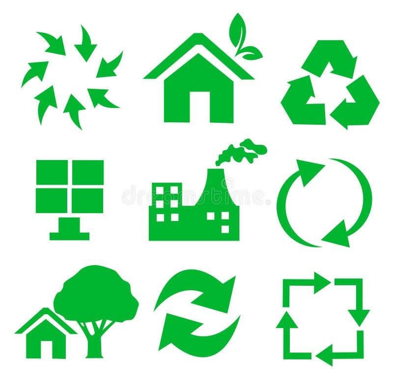 回收集合向量的环境图标 皇族释放例证