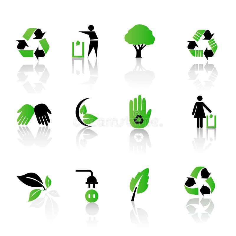 回收集合向量的环境图标 库存例证