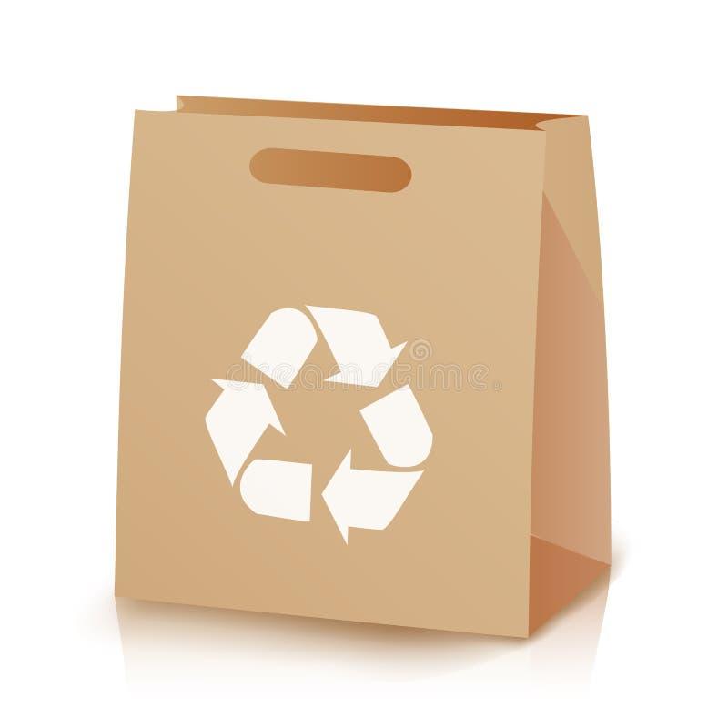 回收购物棕色袋子 被回收的布朗购物的纸袋的例证与把柄的 回收符号 查出 向量例证