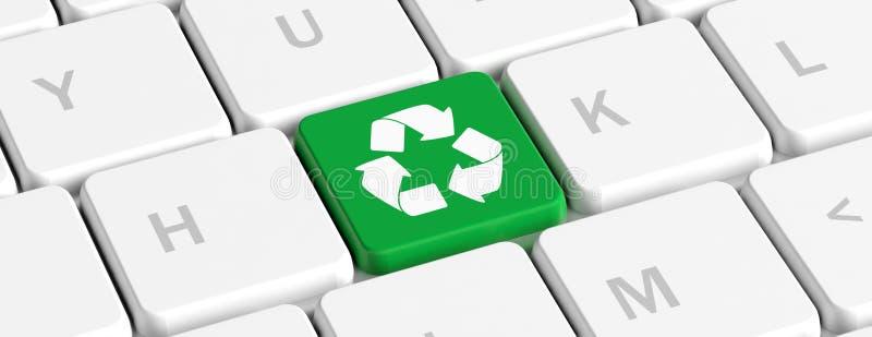 回收 绿色关键按钮与回收在键盘的标志,横幅 3d例证 向量例证