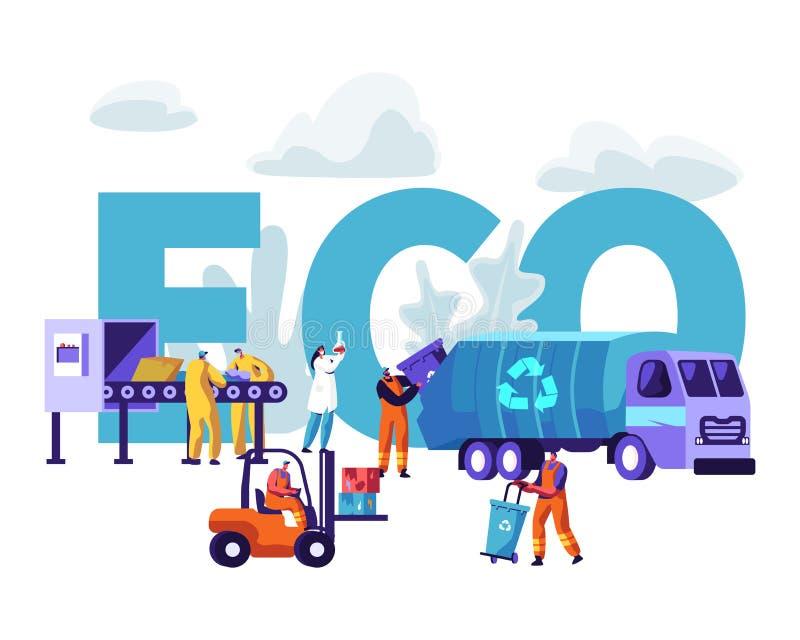 回收Eco概念的垃圾 工作者乱丢 库存例证