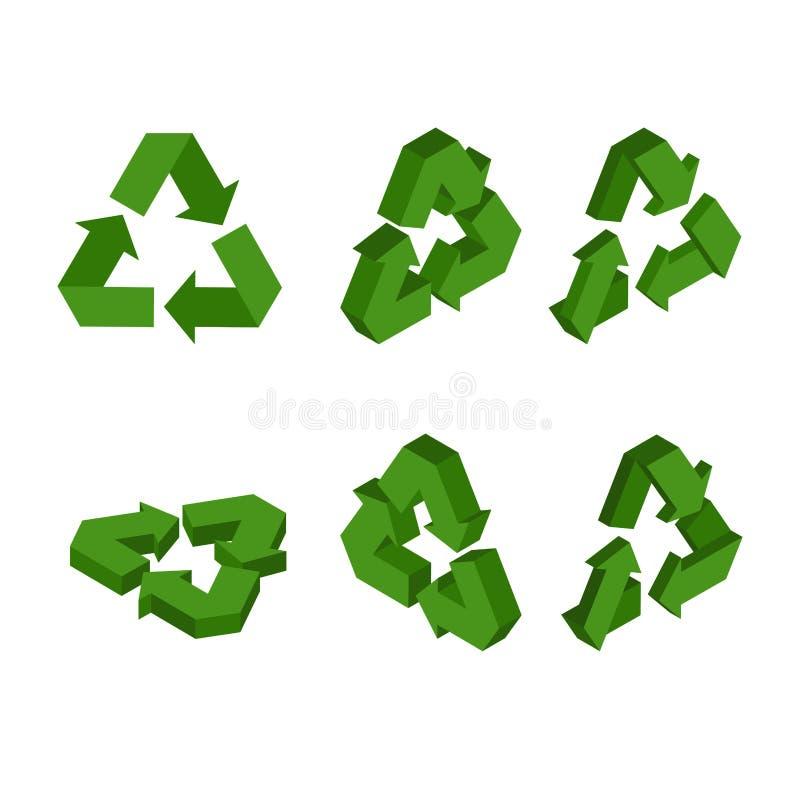 回收isometrics的标志 集合绿色三角箭头 conversio 库存例证