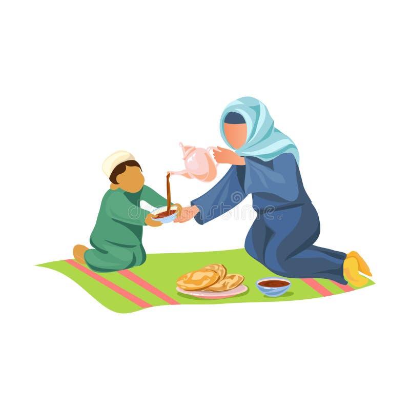 回教与她的儿子的母亲饮料热的阿拉伯咖啡 皇族释放例证