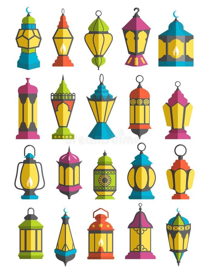 回教假日赖买丹月Kareem慷慨的月灯笼Traditiona 向量例证