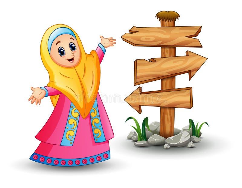 回教女孩头戴黄色面纱的和出席与空白的木箭头的桃红色礼服签字 库存例证