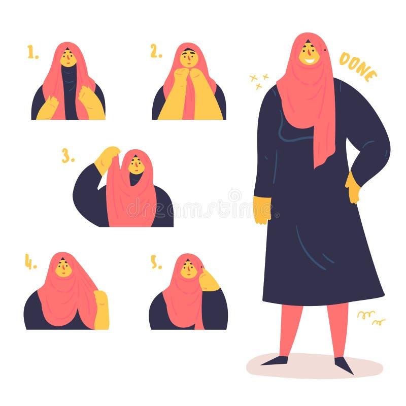 回教妇女显示一种方式佩带hijab 向量例证