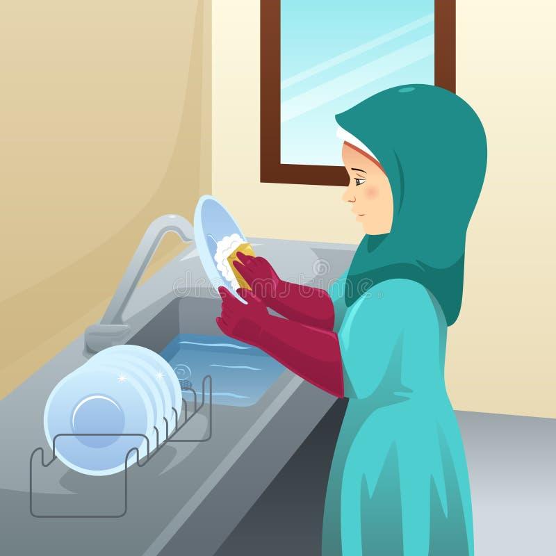 回教妇女洗涤的盘例证 库存例证