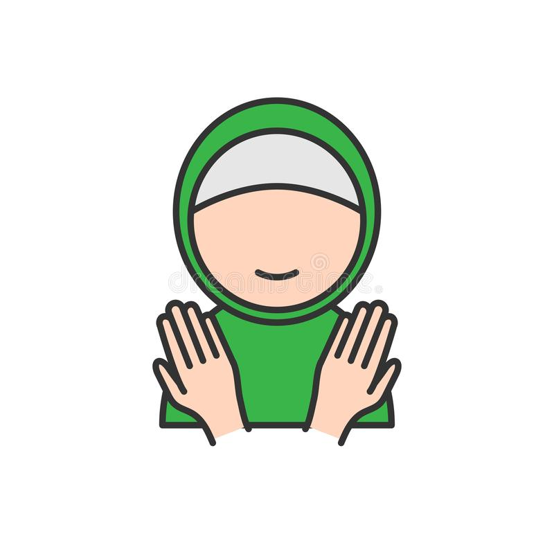 回教妇女用祈祷的手 穆斯林斋月和eid Al fitr庆祝的简单的monoline象样式 皇族释放例证