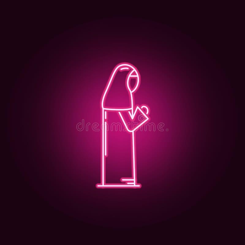 回教妇女祈祷的霓虹象 宗教集合的元素 r 库存例证