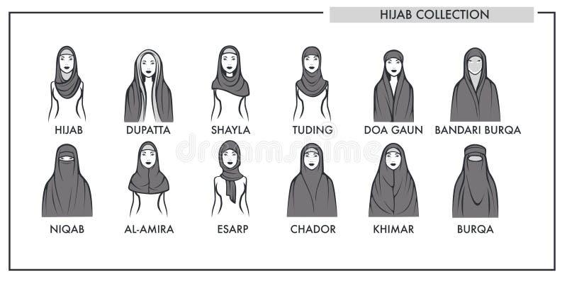 回教妇女hijab类型塑造汇集传染媒介被隔绝的女性伊斯兰教的时尚线象 库存例证