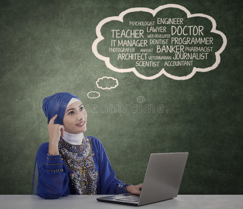 回教学生认为她的理想 图库摄影