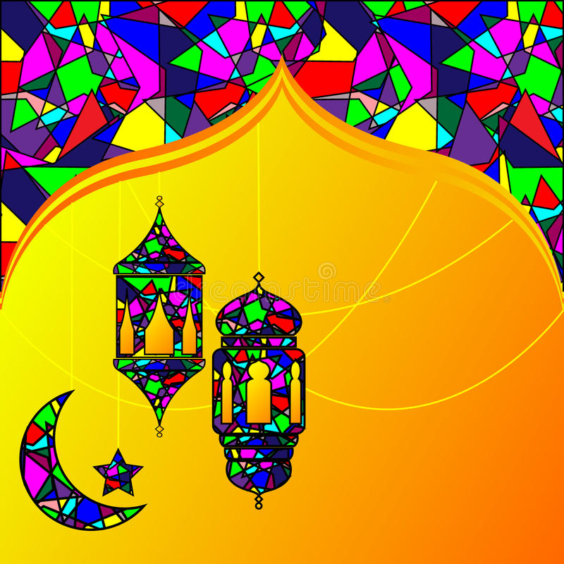 回教标志-传统阿拉伯灯笼,灯 向量例证