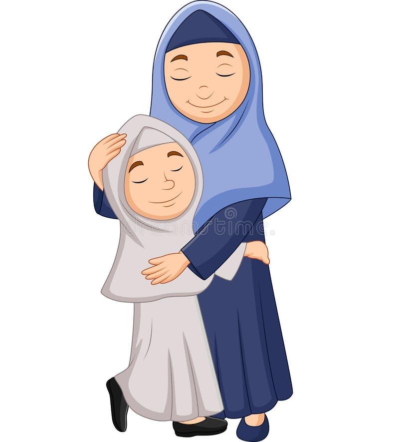 回教母亲和女儿拥抱 向量例证