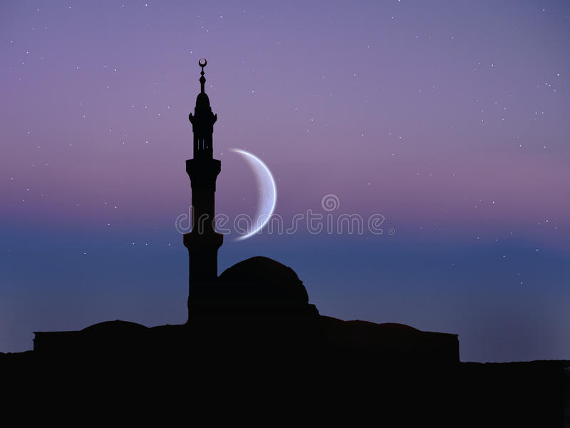 回教清真寺,夜月亮 库存照片