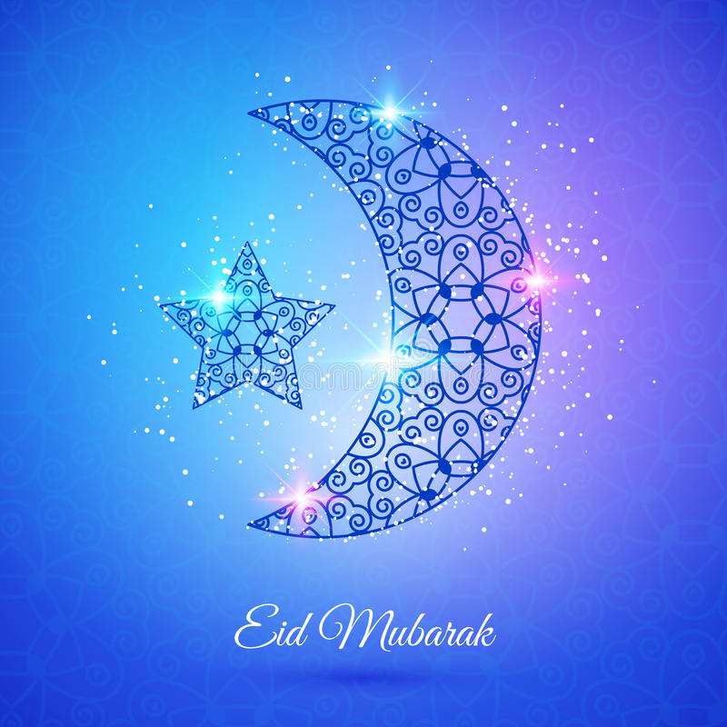 回教社区日的Eid穆巴拉克月亮 库存例证