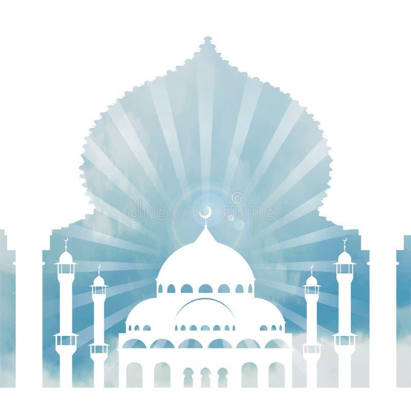 回教背景 清真寺,曲拱,天空,云彩 日 向量例证