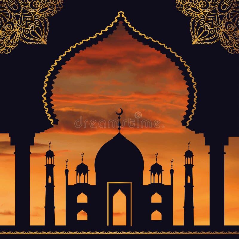 回教背景 清真寺,曲拱 日落天空 橙色 向量例证