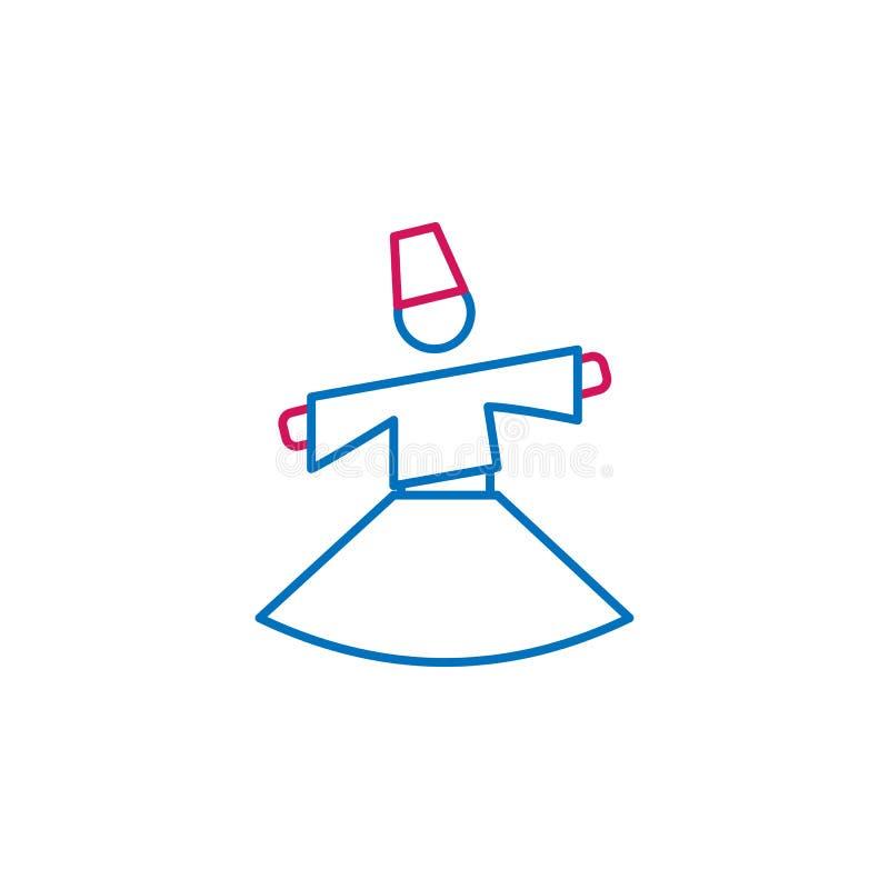 回教,sufi神秘主义者2种族分界线象 简单的蓝色和红色元素例证 回教,sufi神秘的概念概述标志设计 库存例证