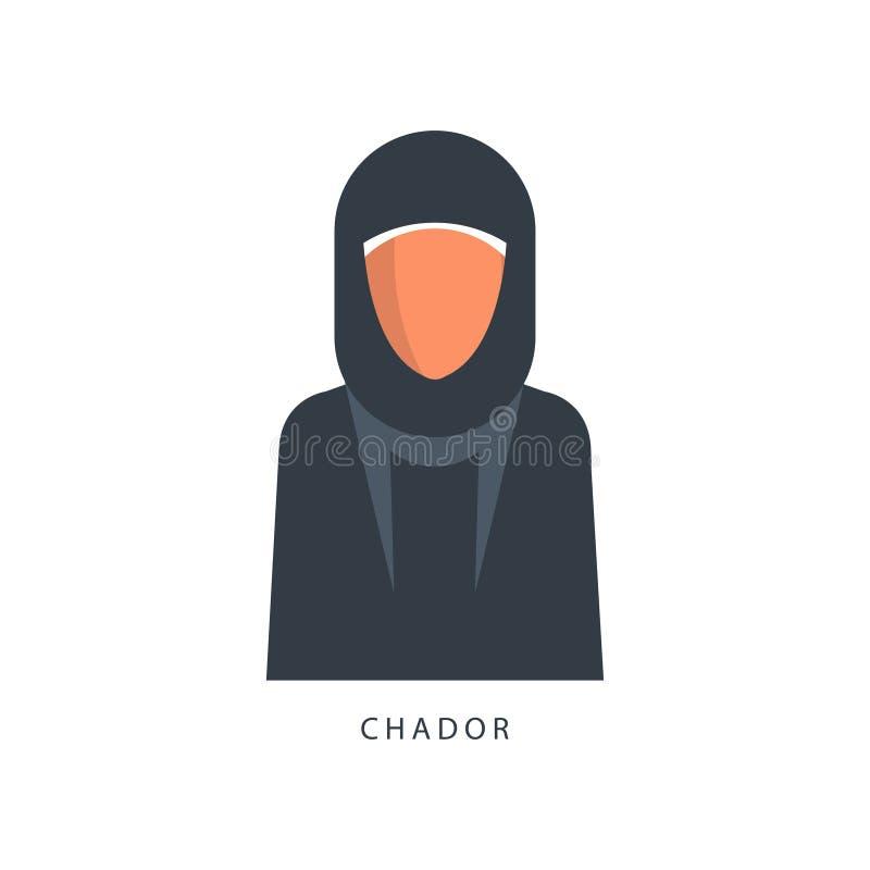 回教Chador头饰的妇女,传统伊斯兰教的衣物传染媒介例证的女性具体化在白色 皇族释放例证