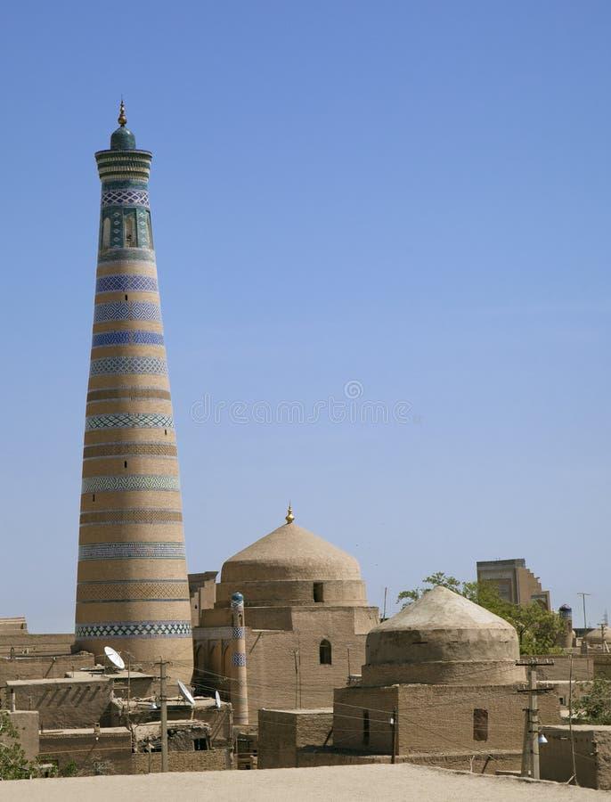 回教Khodja尖塔在Khiva 免版税库存照片