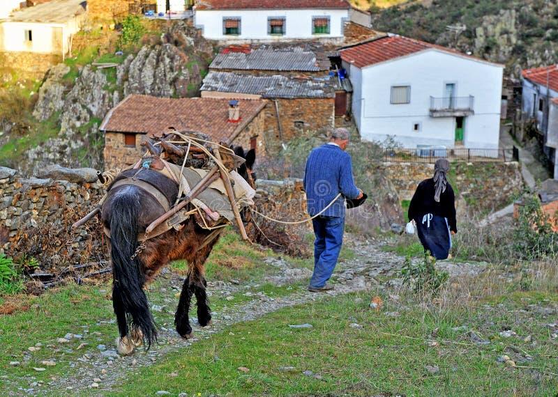 回来从在领域的工作, Hurdes,埃斯特雷马杜拉,西班牙的村民夫妇  免版税库存图片