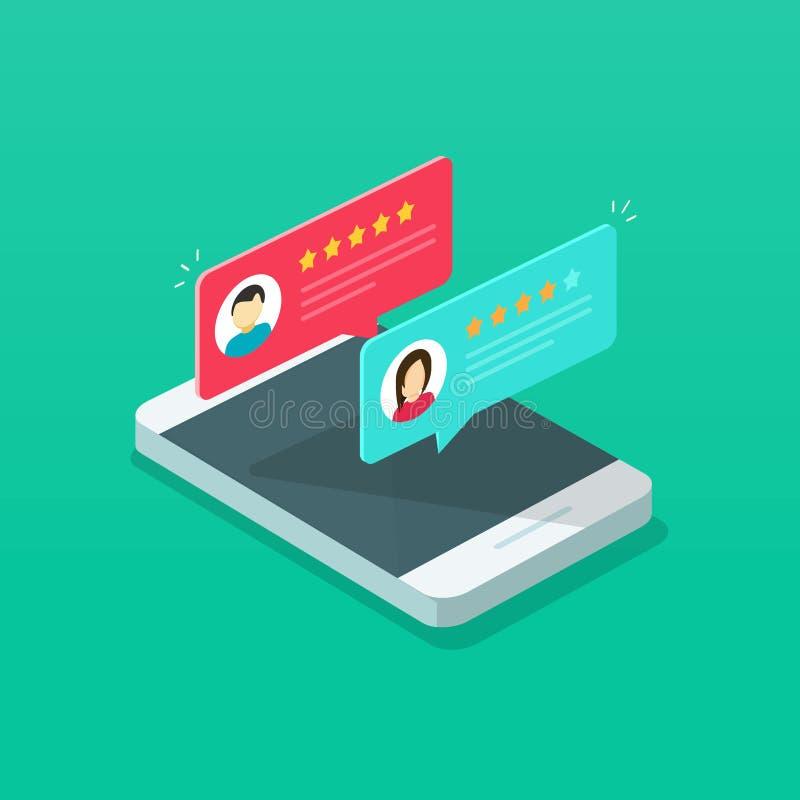 回顾在手机传染媒介例证,动画片等量智能手机网上回顾率星,概念的规定值  库存例证