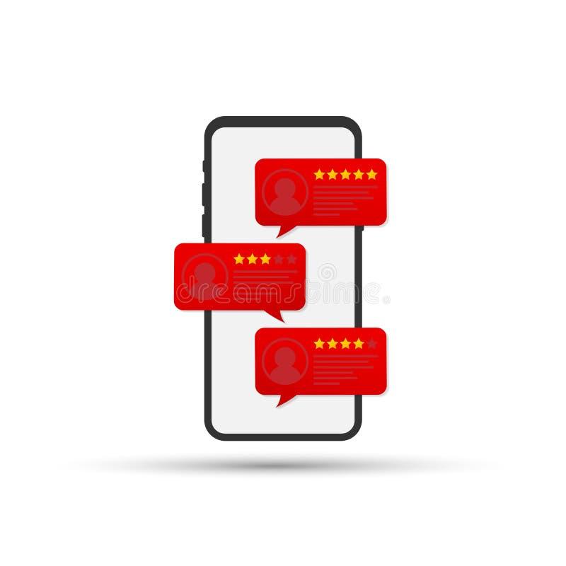 回顾规定值在手机传染媒介例证的泡影讲话,与好和坏率的平的样式智能手机回顾星 向量例证