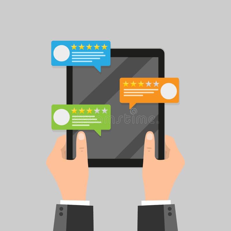 回顾规定值在手机传染媒介例证的泡影讲话,平的样式智能手机回顾与好和坏率的星和 向量例证