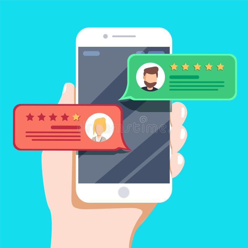 回顾规定值在手机传染媒介例证的泡影讲话 平的样式智能手机回顾星 皇族释放例证