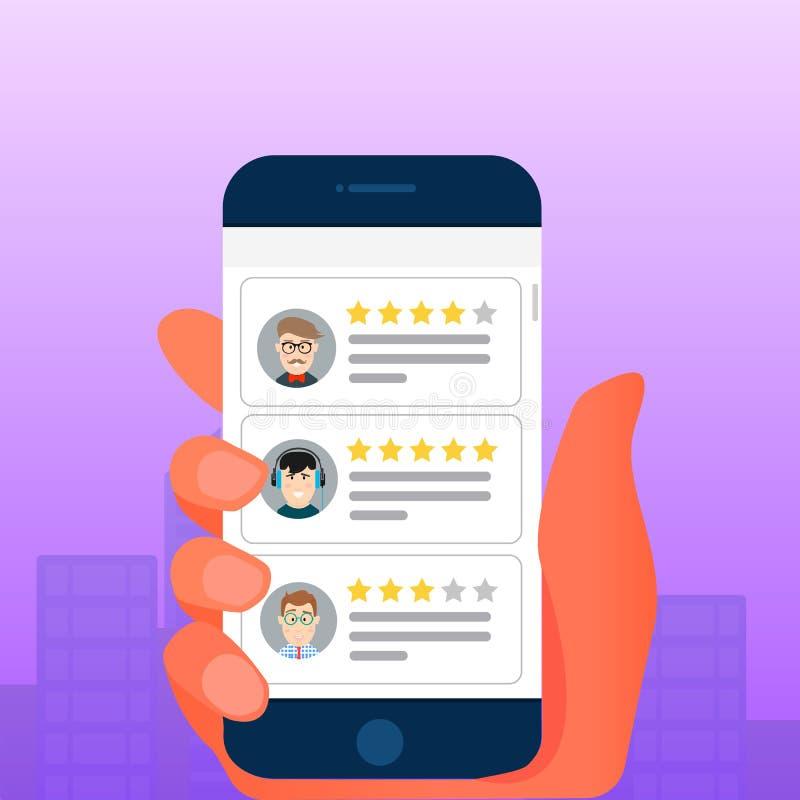 回顾规定值在手机的泡影讲话 回顾担任主角率和文本,证明书消息,通知, feedb的概念 库存例证
