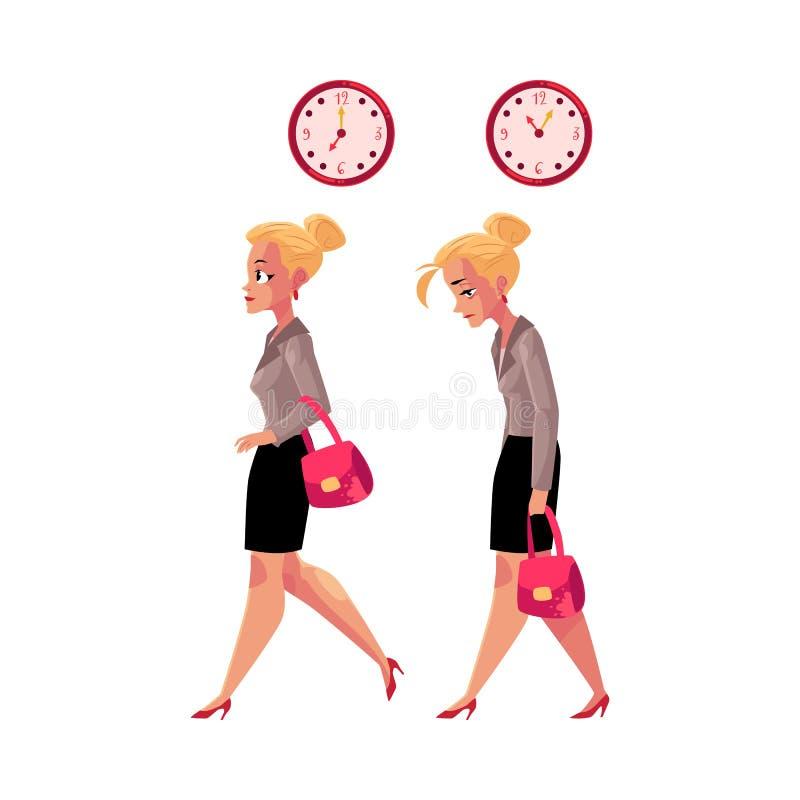 回去的女实业家赶紧工作和家庭疲乏,用尽 向量例证