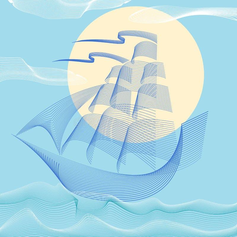 因为背景是蓝色的小船小船可能棍打浮动旅馆图象略写法海洋红色风船航图片