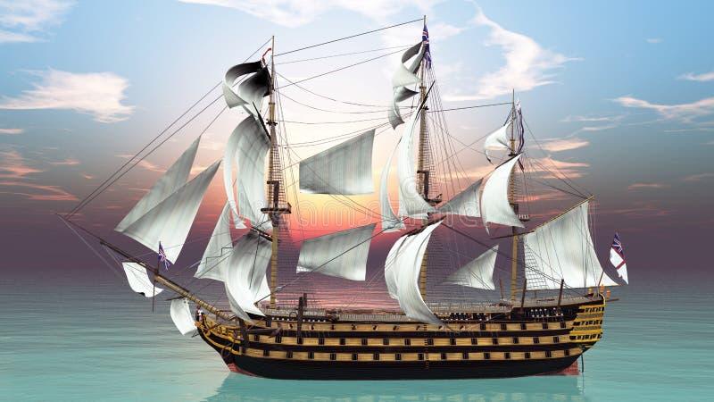 因为背景是蓝色的小船小船可能棍打浮动旅馆图象略写法海洋红色风船航行风帆被传统化的使用的通知游艇黄色的黑暗的等标志 库存例证