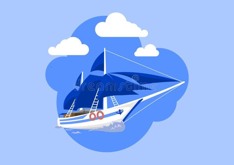 因为背景是蓝色的小船小船可能棍打浮动旅馆图象略写法海洋红色风船航行风帆被传统化的使用的通知游艇黄色的黑暗的等标志 皇族释放例证