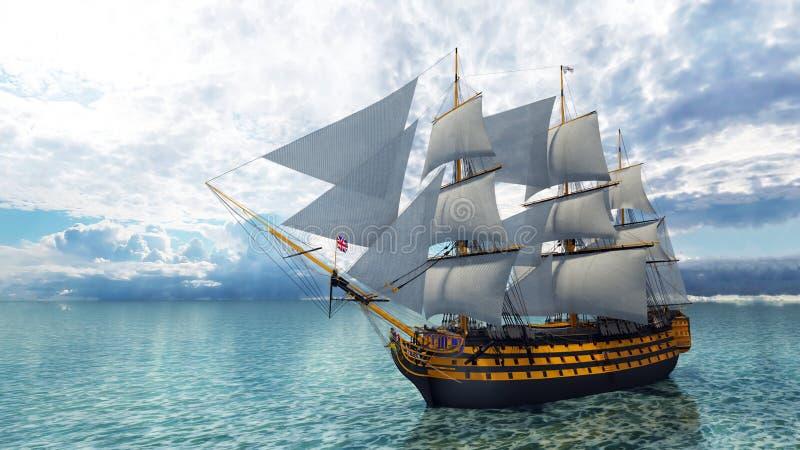 因为背景是蓝色的小船小船可能棍打浮动旅馆图象略写法海洋红色风船航行风帆被传统化的使用的通知游艇黄色的黑暗的等标志 向量例证