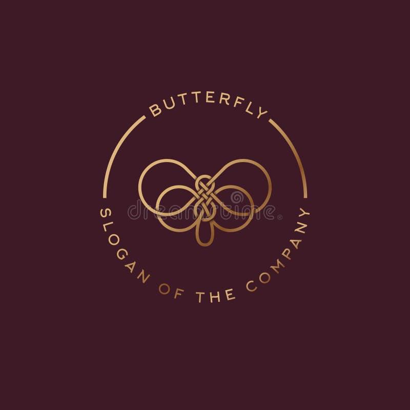因为背景黑色蝴蝶能cmyk颜色设计要素徽标略写法模式设置使用 从交错的线的美丽的装饰蝴蝶 化妆用品的金黄商标 库存例证