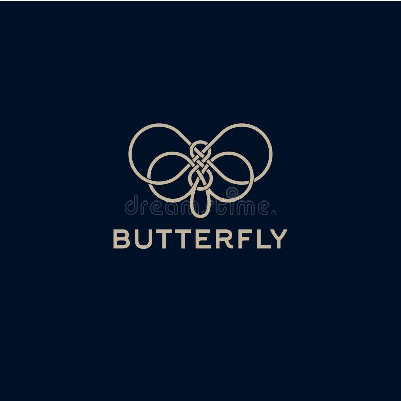 因为背景黑色蝴蝶能cmyk颜色设计要素徽标略写法模式设置使用 从交错的线的美丽的装饰蝴蝶 化妆用品的商标 向量例证