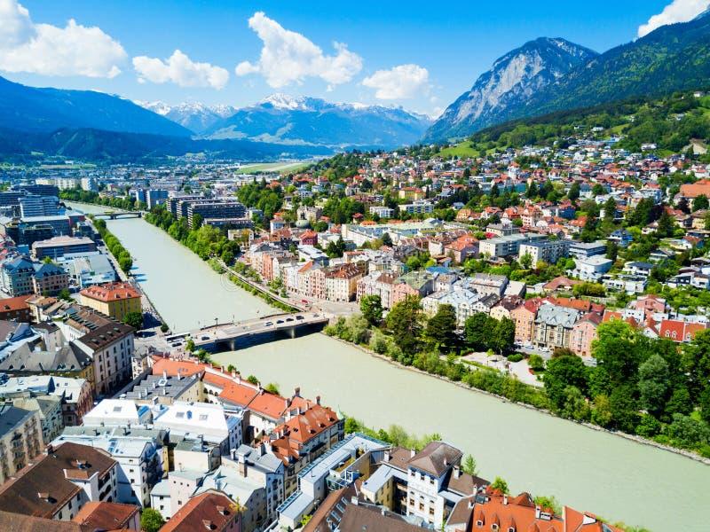 因斯布鲁克鸟瞰图,奥地利 免版税图库摄影