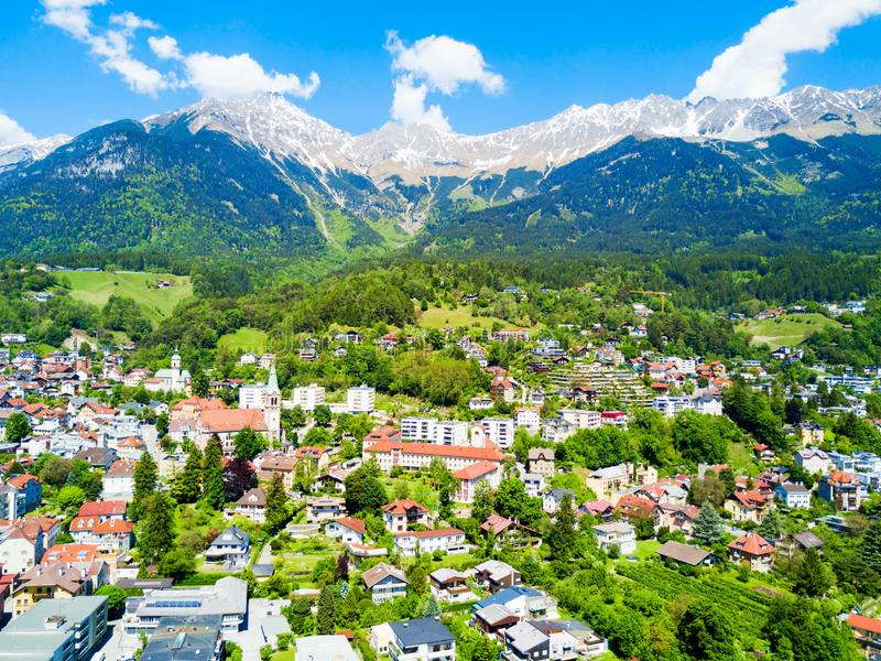 因斯布鲁克鸟瞰图,奥地利 免版税库存图片