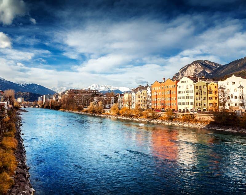 因斯布鲁克,奥地利,南蒂罗尔的首都,一美丽的autu 库存图片