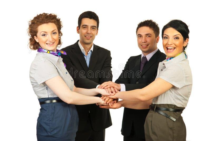 团结的企业快乐的人小组 免版税库存图片