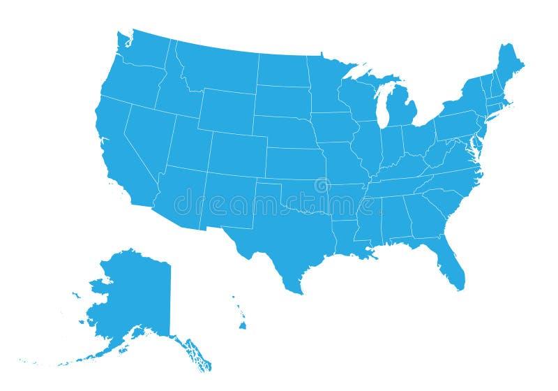 团结的国家地图的美国 高详细的传染媒介地图-团结的国家的美国 库存例证