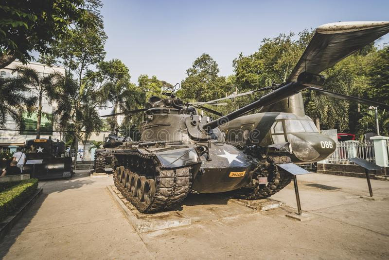团结的状态军队显示,博物馆老坦克在越南战争遗迹博物馆的保留战争期间的历史证据西贡的 库存照片