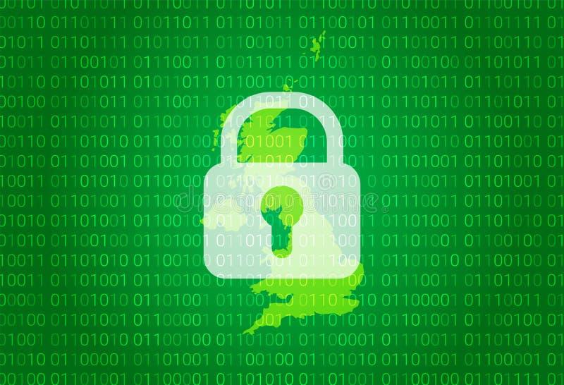 团结的王国映射 例证有锁和二进制编码背景 阻拦的互联网,病毒攻击,保密性 库存例证