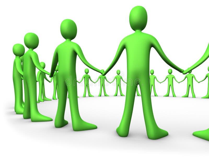 团结的绿色人小组 库存例证